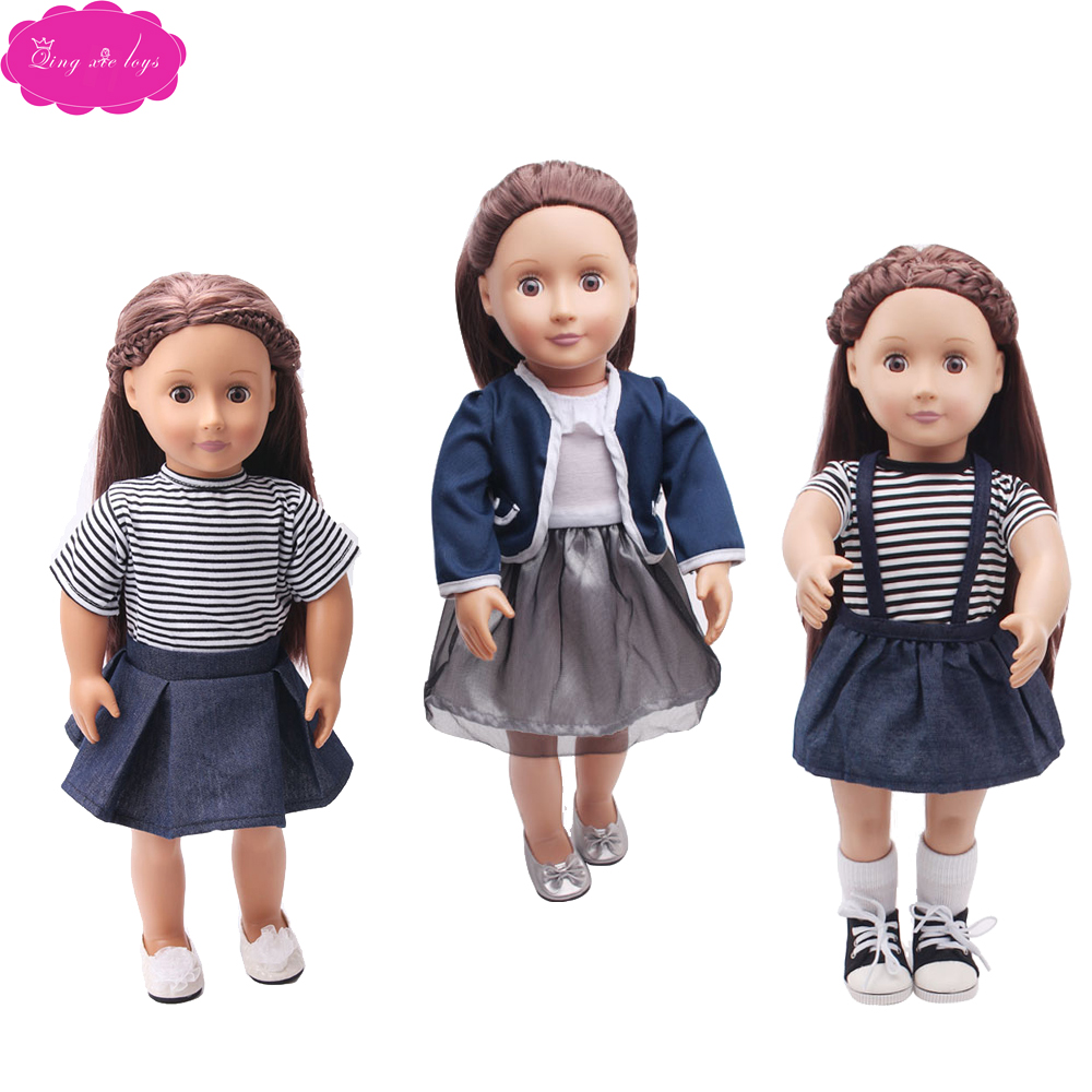 18 Inch Girls Doll Clothes 2 Pcs Skirt Suit 5 Style American Newborn Dress Baby Toys Fit 43 Cm Baby Dolls C34-c361