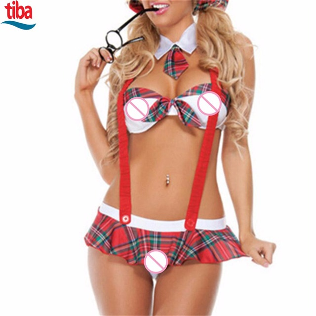 1 Set Red with White Sexy Lingerie TB-0080 Girls Lingerie Sexy Tie Student Bikini+Skirt Erotic Lingerie Bow Sexy Costumes