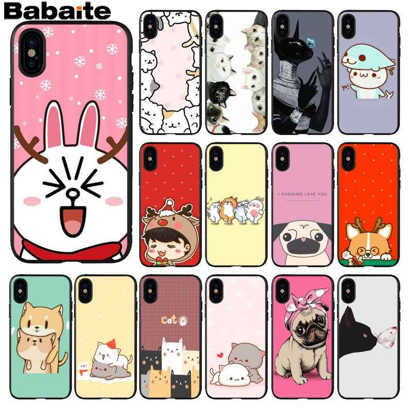 Babaite kawaii molang anime dog 만화 고양이 검은 색 tpu 소프트 실리콘 전화 커버 for iphone 8 7 6 6 s plus 5 5 s se xr x xs max