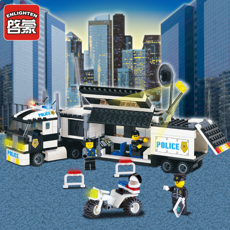 ENLIGHTEN 128 325pcs Police Truck Building Blocks Sets Toys playmobil Educational DIY Bricks Children Birthday Christmas Gifts