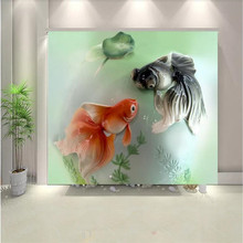 Custom wallpaper 3d new Chinese style double fish embossed background wall decorative painting photo