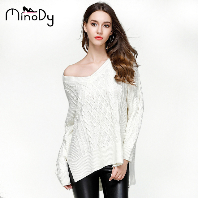 8bc5d5da9b Minody Pullover Sweater Winter 2018 Autumn Sexy Long Sleeve Off Shoulder  Sweater Jumpers White Grey Knitted Sweater YT0607122