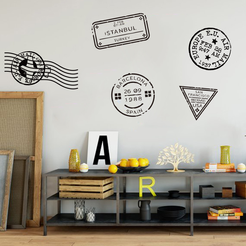 Passport Stamps Vinyl Wall Sticker