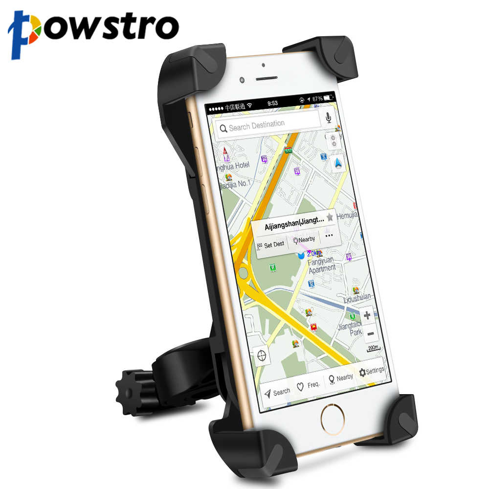 Universal 360 Degree Rotation Bike Bicycle Motorcycle Handlebar Clip Stand Phone Holder Bracket Mount Shockproof for 3.5-6.5""