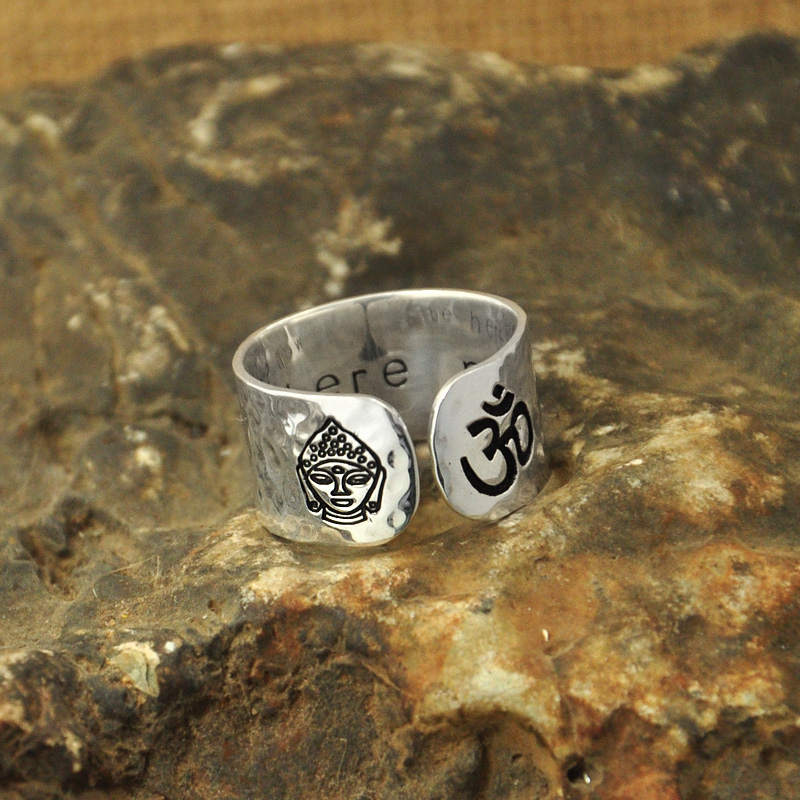Custom Alloy Ring Be Here Now Secret Message Yoga Ring, Budda, Wideband Hammered Ring, Customizable Buddha Ring