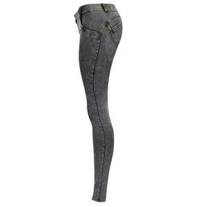 Image 3 - סקסי נמוך מותניים ג ינס אישה אפרסק לדחוף את ירך סקיני ג ינס מכנסיים החבר ז אן לנשים אלסטי חותלות אפור ג ינס בתוספת גודל