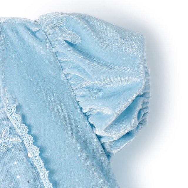Girls Cinderella Dress up Cosplay Costumes Kids Puff Sleeve Embroidery Blue Clothes Child Christmas Birthday Princess 3