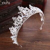 YXPH New Bridal Tiara Crown Princess Crown Wedding Bridal Crown Silver Color Cake Shaped Hair Jewelry