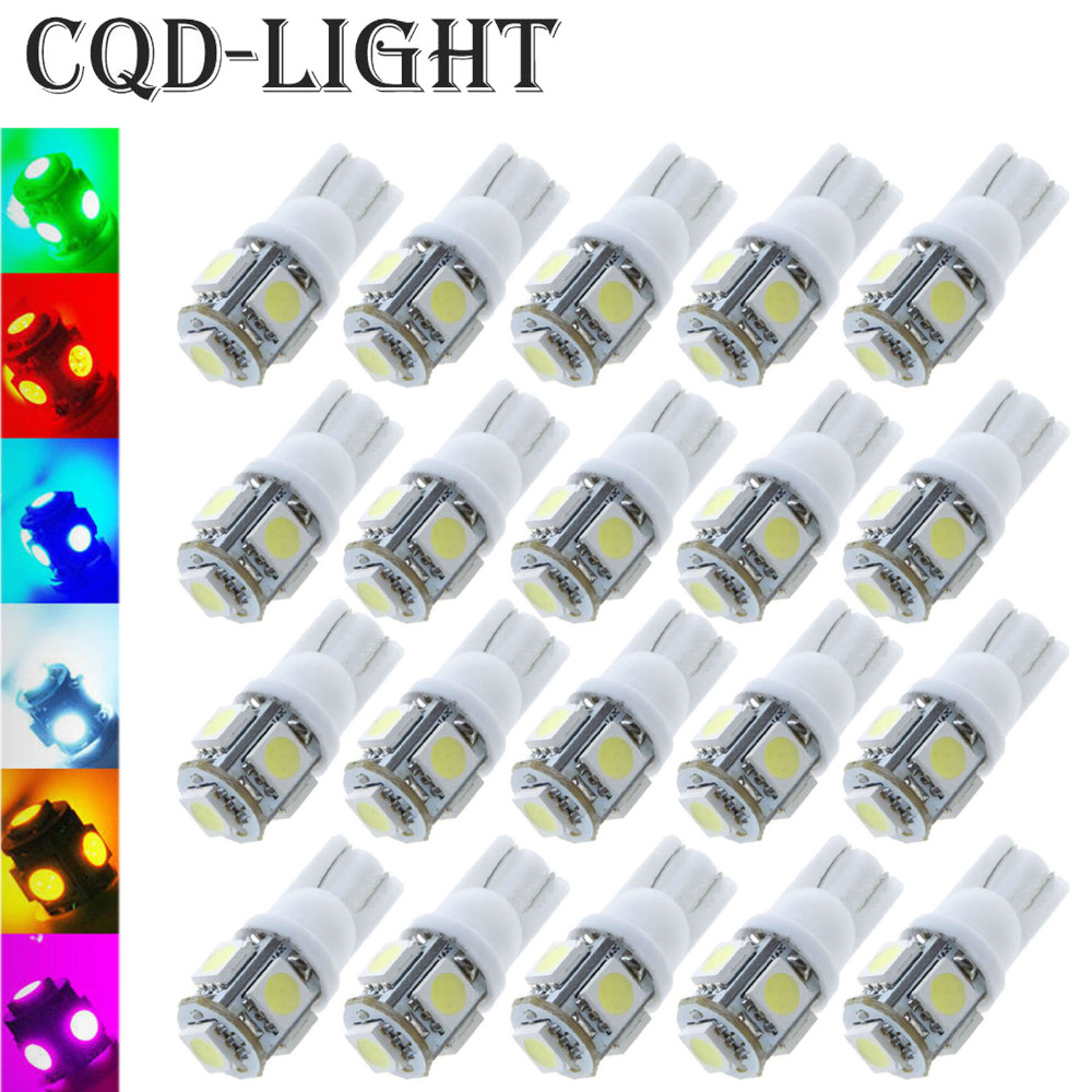 20pcs/Lot T10 W5W LED Bulbs 5050 5 SMD 194 168 Xenon White Wedge Interior Side Dashboard License Light Lamp Car Styling 194 168 5050 w5w t10 5 smd white led light bulbs replacement for interior dome map dashboard lights lamp exterior license