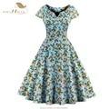 Sishion cuenta con la manga del casquillo 50 s 60 s vintage dress s-4xl tallas grandes ropa de mujer retro oscilación rockabilly polka dot floral vestidos vd0414n