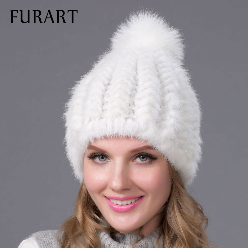 Winter Warm Hat Real Mink Fur Cap with Fur Ball Pom Poms Hats Female Beanies Knitted