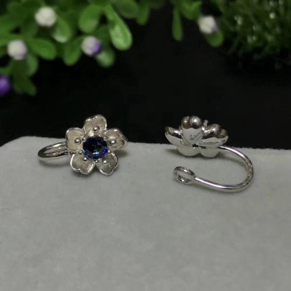 Saphir bleu naturel gemme élégant creux fleur clip boucles d'oreilles 925 argent naturel pierres précieuses boucles d'oreilles femmes fête cadeau bijoux - 3