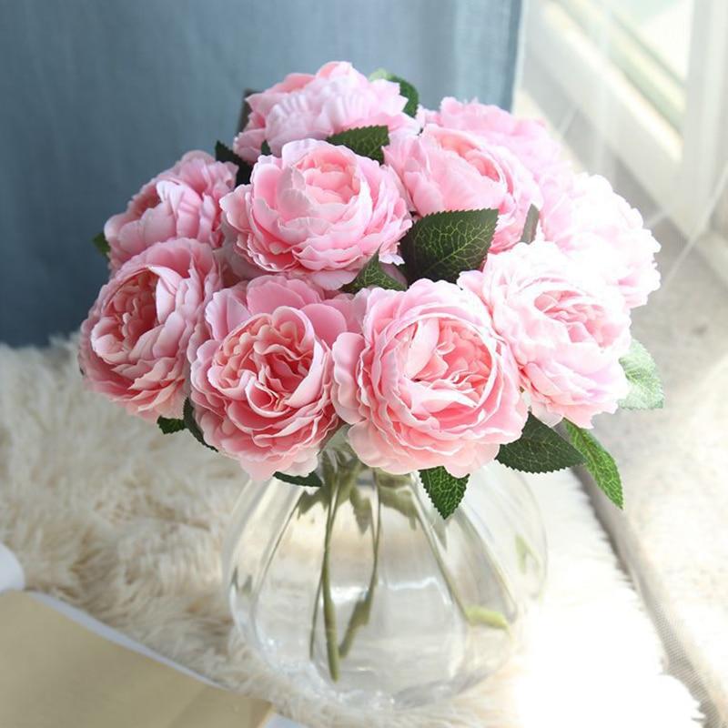 1 hoofd/lot Zijde Hortensia Kunstbloemen Zijde Pioen Boeket Goedkope Bloemen Wedding Home Decoration Fake Rose Bloem-in Kunstmatige & Gedroogde Bloemen van Huis & Tuin op title=