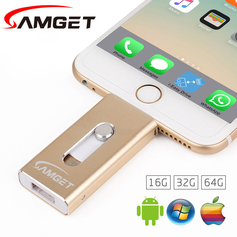 Samget For iPhone 6 Plus 5S 7Puls ipad Metal Pen drive HD Memory Stick Dual Purpose