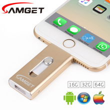 Samget para iphone 6 plus 5s 7 puls ipad metal pen drive hd tarjeta de memoria móvil de doble propósito otg micro usb flash drive 32 GB/64 GB
