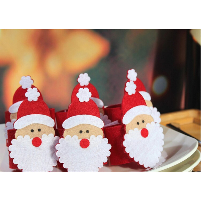 cute 5pcs santa claus napkin ring christmas table decorations holder kitchen decor for christmas decoration home