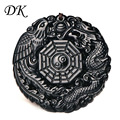 David Kabel Black Obsidian Carving Dragon and Phoenix Necklace Pendant Obsidian Lucky Pendants Drop Shipping