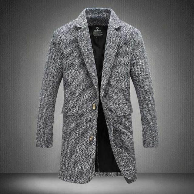 Gabardina Hombres de la Moda Estilo de Inglaterra Manteau Homme Hombre Solo Pecho de Largo Guisante Abrigo de Lana Gabardina Abrigo de Lujo 4XL 5XL