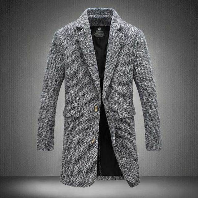 Trench Coat Men Fashion England Style Manteau Homme Man's Single Breasted Long Pea Coat Woolen Coat Luxurious Trenchcoat 4XL 5XL