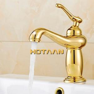 Image 2 - Grifo de lavabo dorado, mezclador de latón con cerámica, para banheiro, Envío Gratis, novedad