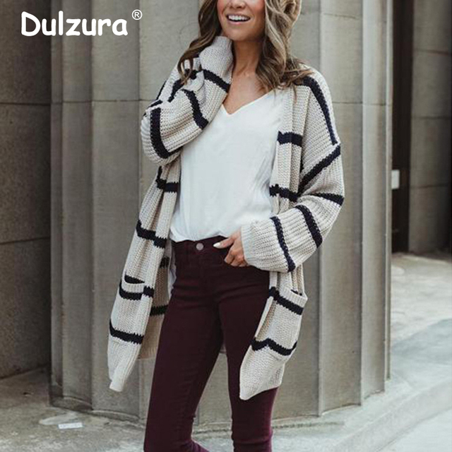 27b3773cc3 Casual Striped V Neck Long Cardigan Coat Women 2018 Women Autumn Winter  Sweaters and Cardigans Oversized Knitted Jacket Women