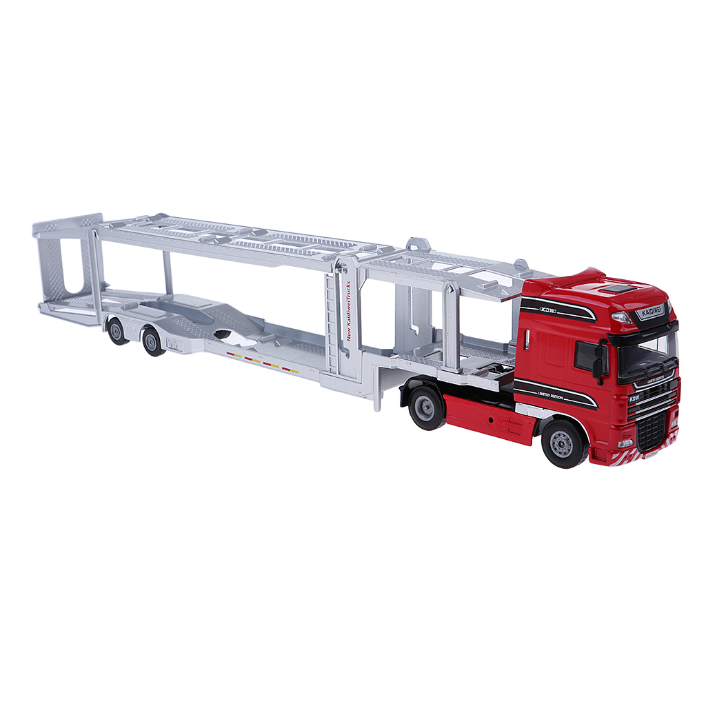 1/50 Die-Cast Miniature Car Transport Truck Trailer Model Toy for Kids Pull Push Vehicle Toy large size alloy die cast model toy tower slewing crane truck vehicle miniature car 1 50 gift for kids