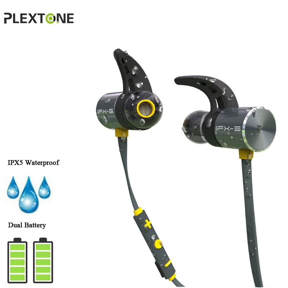 PLEXTONE BX343 Sans Fil Bluetooth Étanche Earphons avec Micro Aimant Double Batterie Mains Libres Écouteurs Ear Phones Pour Téléphone Sport