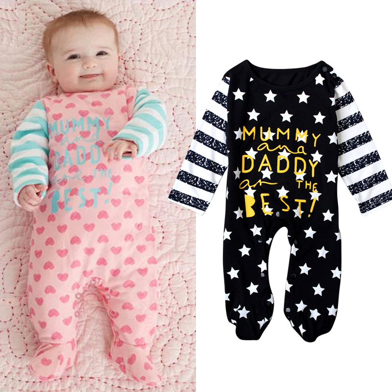 Fashion Baby Clothes Baby Boys Girls Bodysuit Infant Outfits Letter Stars Print Long Sleeve Baby Onepiece Cotton Baby Clothing