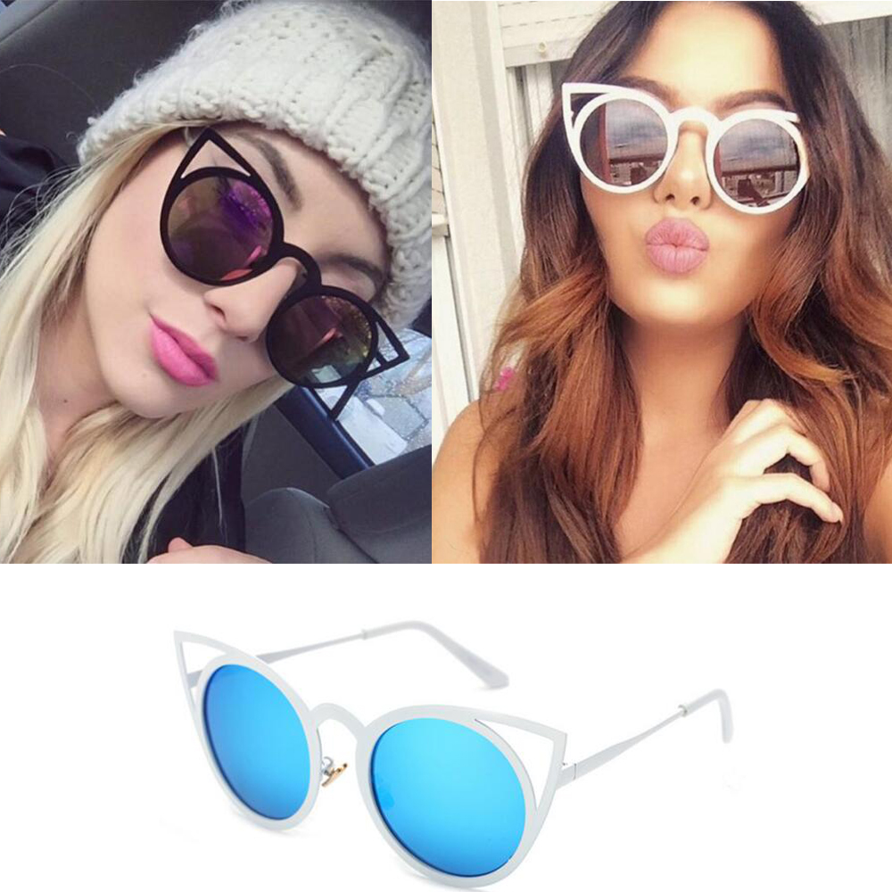 2016 Fashion Retro Round Cat Eye Solglasögon Män Kvinnor Designer Eyewear Metal Frame UV400 Glasses oculos de sol