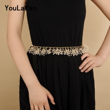 YouLaPan SH70 crystal belts bridal for dress new style belt golden luxury designers women
