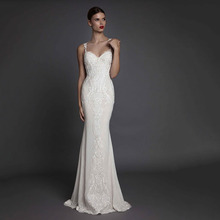 Eightree Women Long Mermaid Prom Dress White Evening 2019 Gown Illusion Backless V-Neck Lady Formal Fish eventail mariage