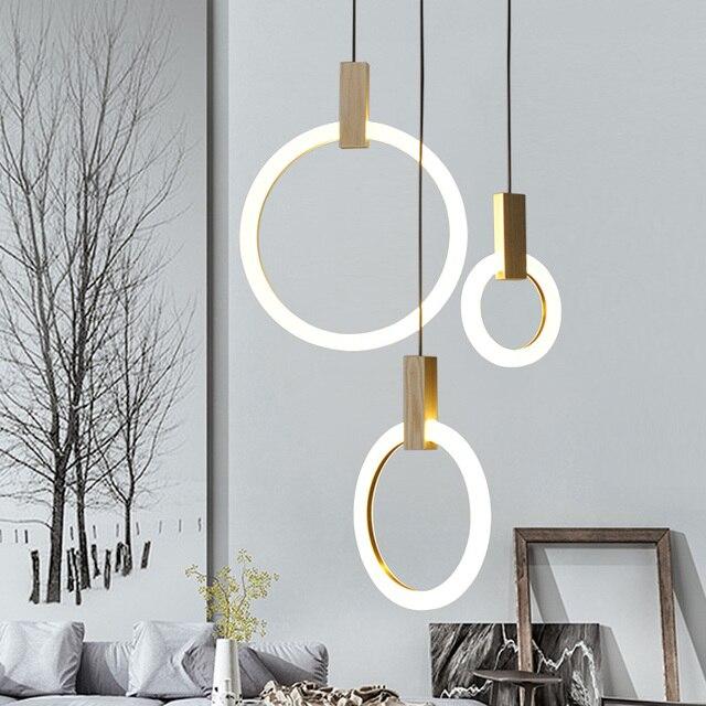 Holz Anhänger Acryl LED Ring Pendelleuchte Für Esszimmer Restaurant ...