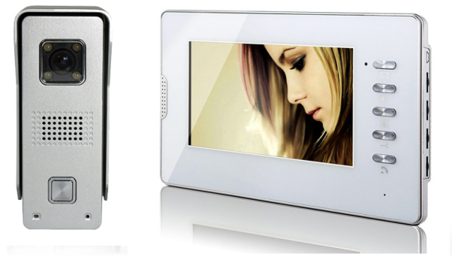 White Color 7 Inch LCD Display Monitor + Aluminum Alloy nfrared Night Vision Camera Wired Video Door Intercom Phone Kit
