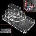 Caso Cosméticos Caixa de Maquiagem de acrílico Transparente 8 Grades caixa de Armazenamento de Jóias Organizador