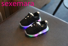 EUR 21-30 2017 Baby Luminous Sneakers Shoes With Child'S Casual Shoe Girl LED Lighted Sneakers Mesh Boy Fashion Sport Solid Shoe