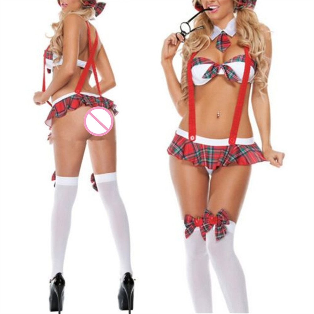 Sexy student lingerie <font><b>bikini</b></font>+skirt Sexy lingerie Hot lenceria sexy erotic lingerie Sexy underwear <font><b>sex</b></font> costumes one size image