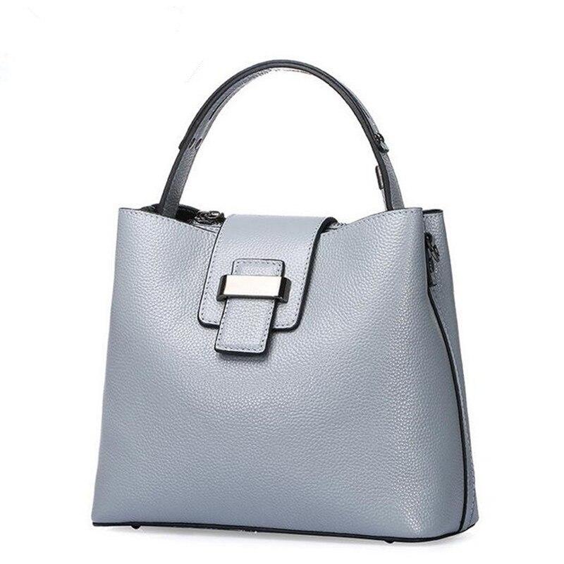 <font><b>Big</b></font> Bag Women Genuine Leather Handbags Cowhide Lady Real Leather Shoulder Messenger Bags Generous Fashion Portable Bucket Bag
