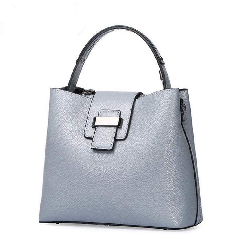 Big Bag Women Genuine Leather Handbags Cowhide Lady Real Leather Shoulder Messenger Bags Generous Fashion Portable Bucket Bag fashion leather handbags luxury head layer cowhide leather handbags women shoulder messenger bags bucket bag lady new style