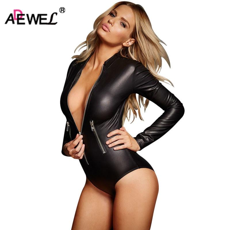 ADEWEL szexi hosszú ujjú cipzáras Wetlook bőr bőrtok női fétis PVC test teddy fehérnemű Erotikus Bodysuits Catsuit Clubwear
