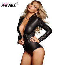 ADEWEL סקסי ארוך שרוול רוכסן Wetlook עור בגד גוף נשים פטיש PVC גוף טדי הלבשה תחתונה ארוטית Bodysuits בגד גוף Clubwear