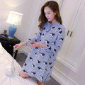 Summer maternity clothing maternity dress maternity clothes cotton paragraph cartoon printed long-sleeved T-shirt tops 6006