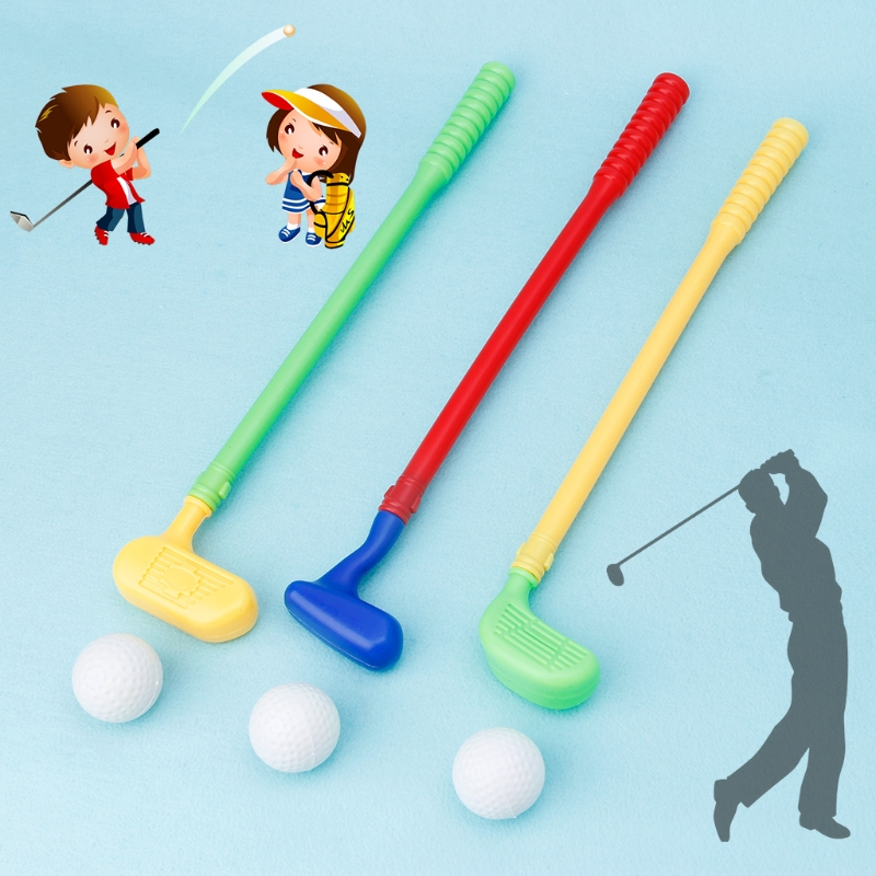 Sturdy Mini Golf Sports Game 3 Clubs+3 Ball Golf Club Toys Outdoor Toy Kids