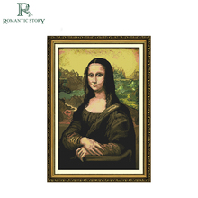 Romantic Story Classic Mona Lisa Figure Portrait Cross Stitch Needlework DIY 11CT Printing Cross Stitch Sets For Embroidery Kits
