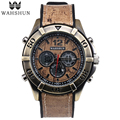 Старинные Часы Dual Time Наручные Часы Коричневый Случайный Часы Мужчины Часы Кварцевые Часы Лучший Подарок Мужчины relogio masculino WS1006