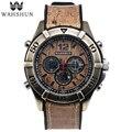 Vintage Watch Dual Time Wristwatches Brown Casual Watches Men Clock Quartz  Leather Watch Best Gift Men relogio masculino WS1006