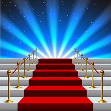 Laeacco Stage Red Carpet Backdrops Staircase Superstar Spotlight Baby Birthday Party Photo Backgrounds Photocall Studio