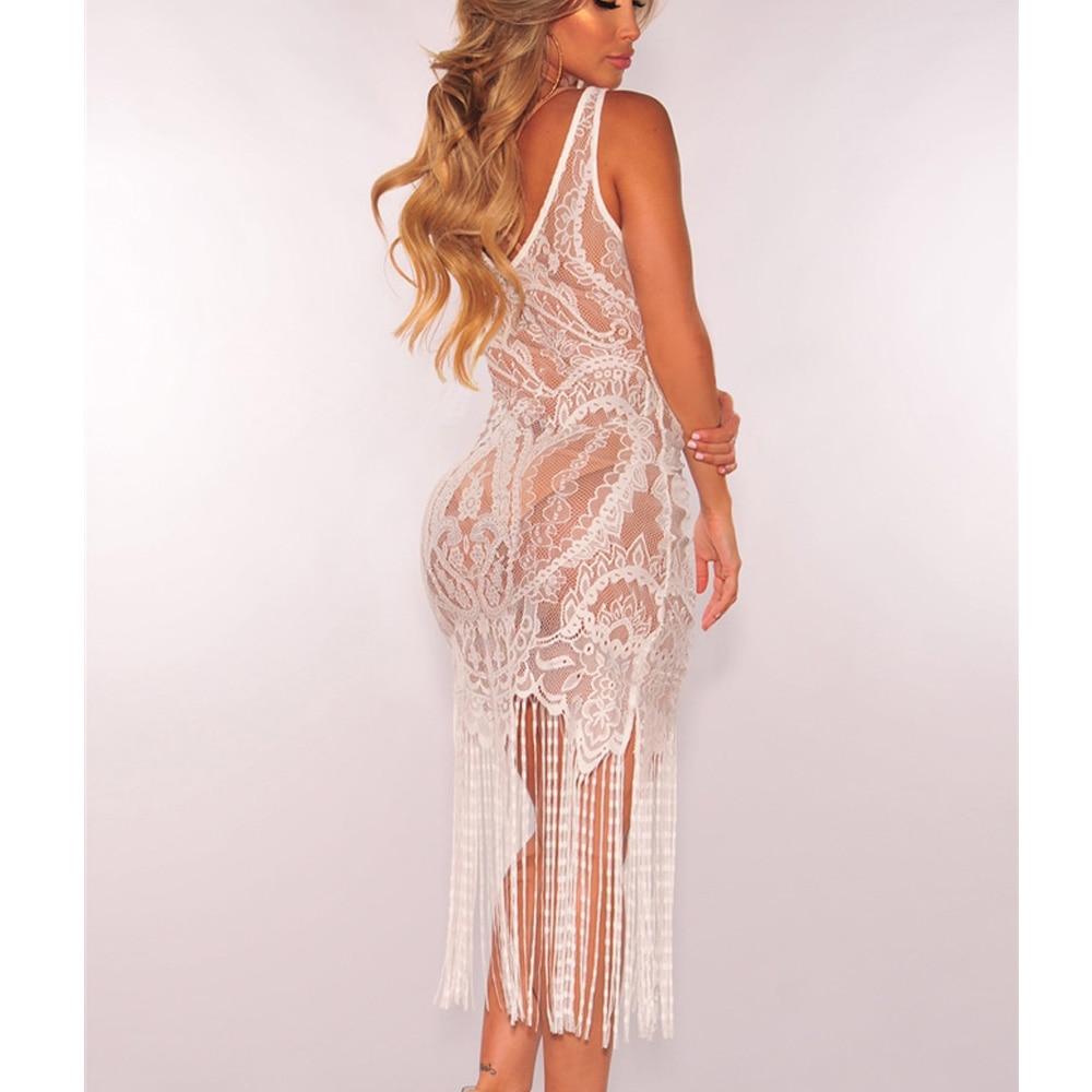 Women Sexy Summer Tassel Slim Black Lace Hollow Out Bodycon Lace Dress Beach Sleeveless Dresses