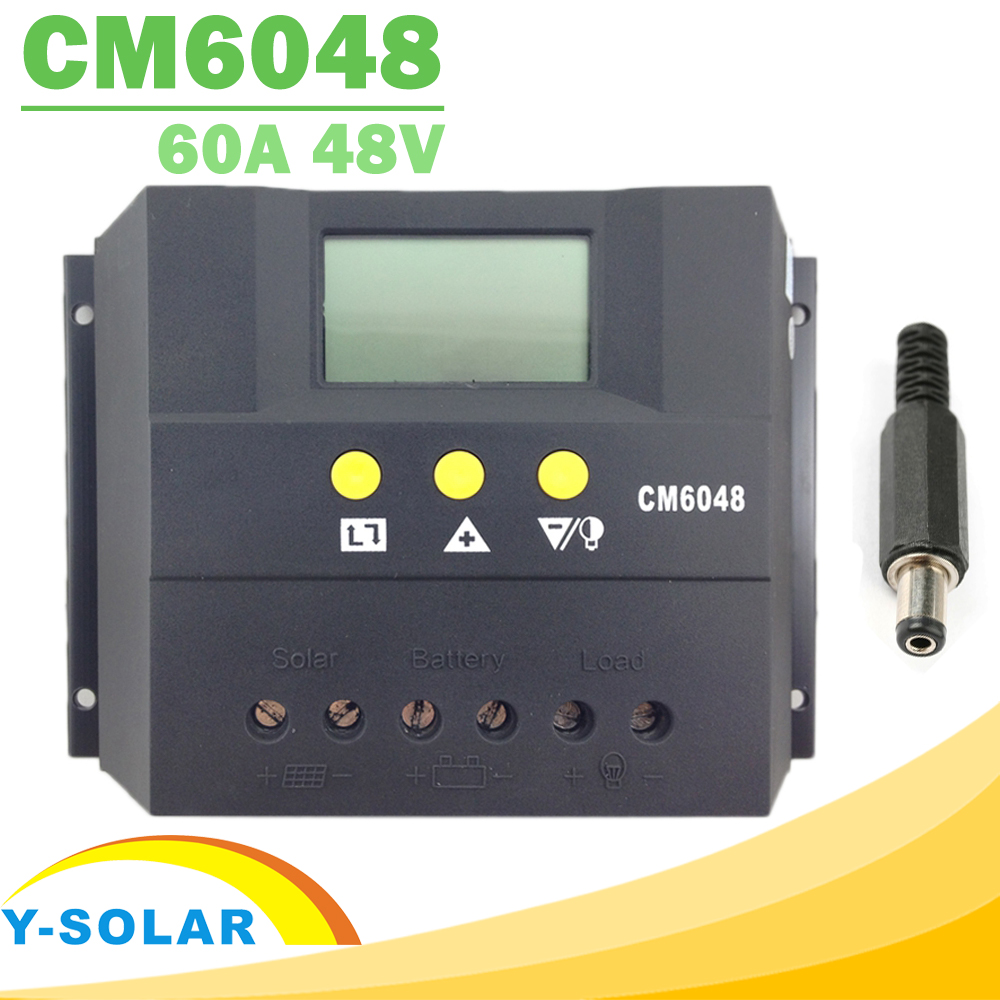 60A Solar Battery Charge Discharge Controller 12V/12V 48V LCD Voltage Settable Solar Regulator PWM Display Charging for Lighting lcd display cm6048 60a 48v pwm solar charge controller solar regulator