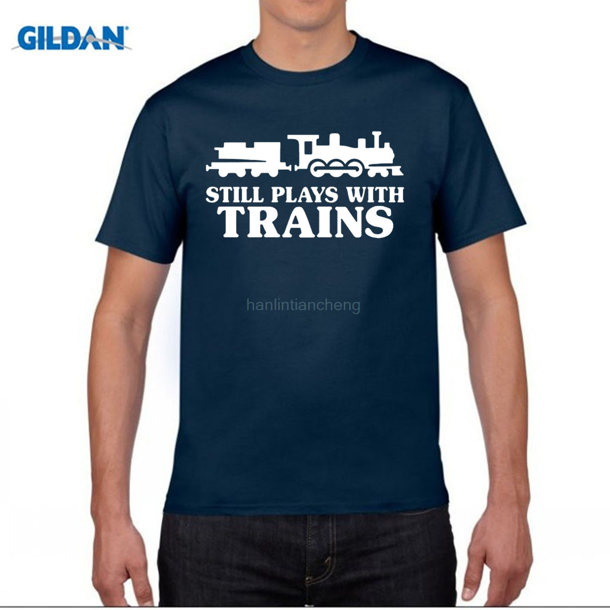 GILDAN round collar T-shirt New Summer Style Still Plays With Trains T-shirt Funny Railway Train Driver Comedy Gift T Shirt