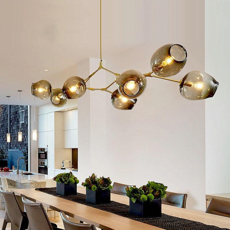 Lindsey Vintage Loft Industrial Pendant Lights Gold Bar Stair Dining Room Glass Shade Retro adelman Pendant